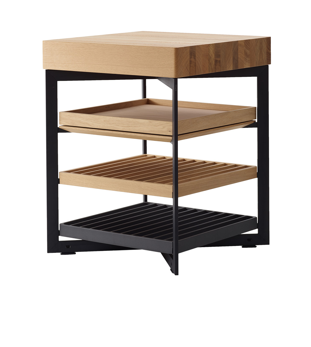 Four Sided Open Shelf Unit With Solid Wood Top Layer And Variable Inserts