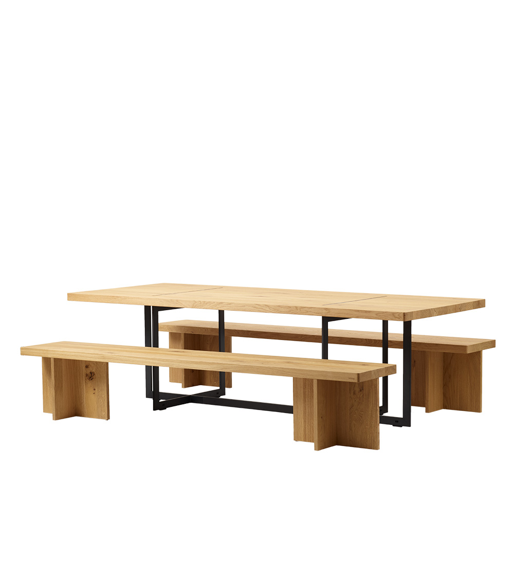The Elegant And Contemporary Table In Solid Oak And Matching Oak Benches  Call For Gathering And