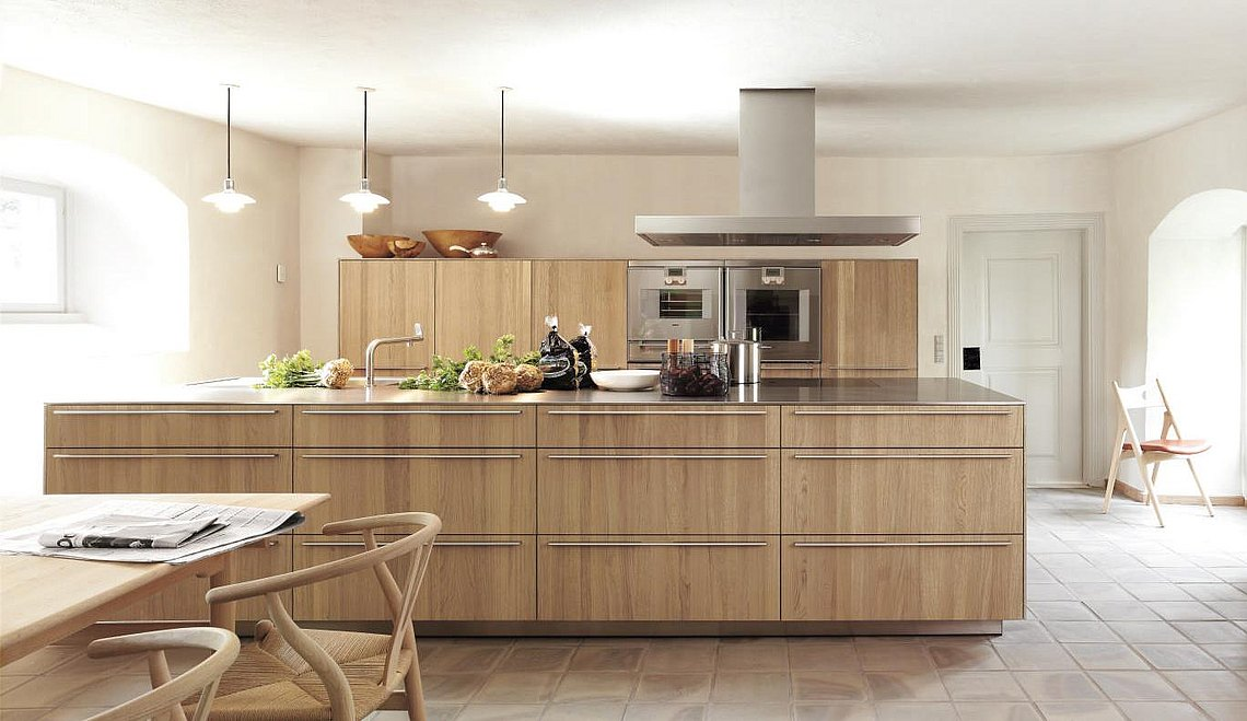 Open bulthaup kitchen with wood finishes