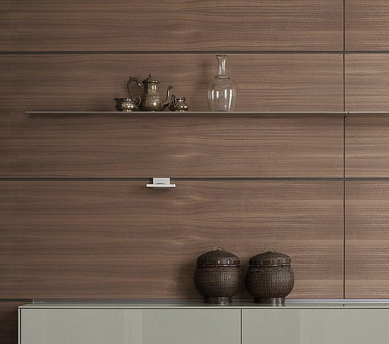 Functional rear wall with wood veneer