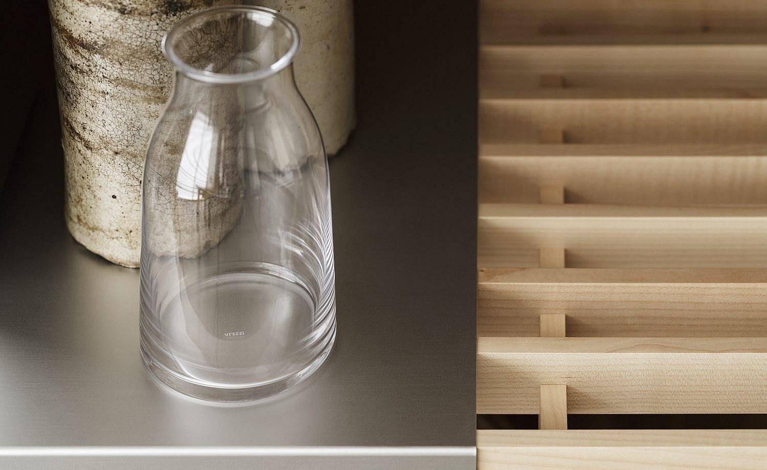 Contrast created with a combination of wooden gridded shelves and aluminum shelves