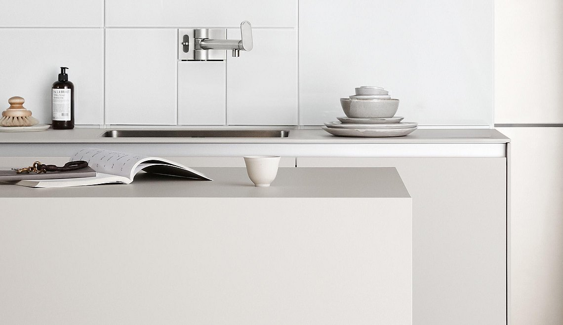 Easily accessible work surface on the kitchen island