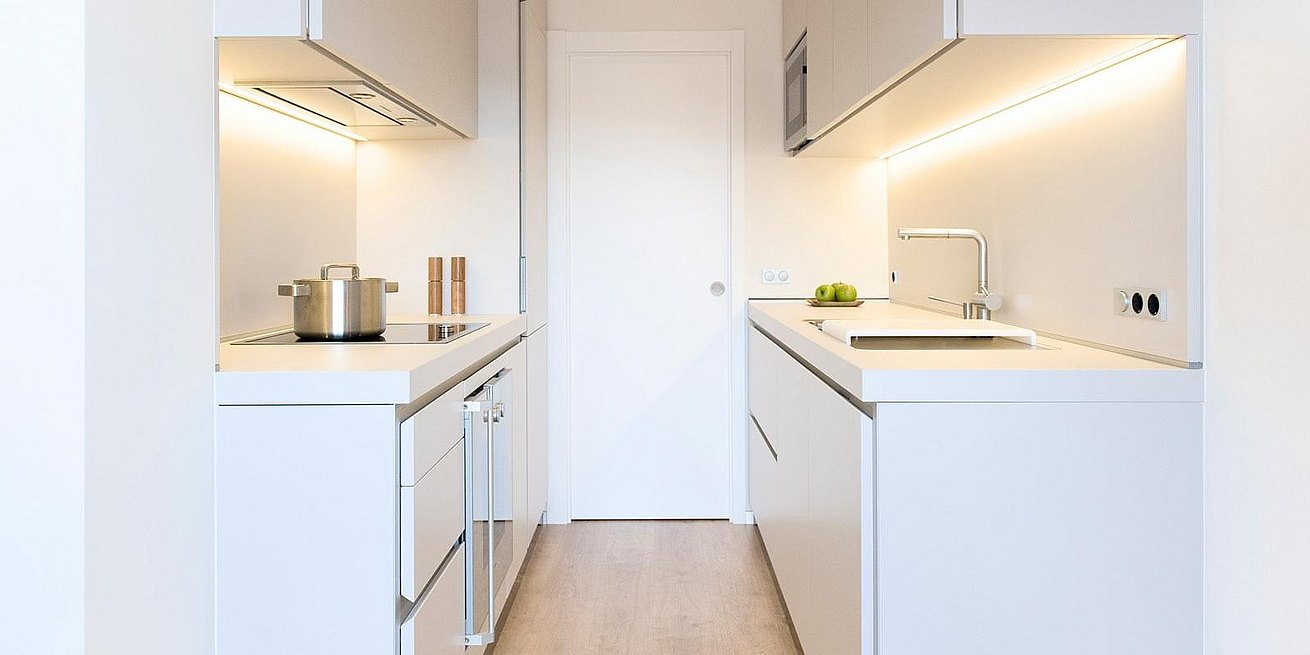 The white color can provide a feeling of more space in small kitchens