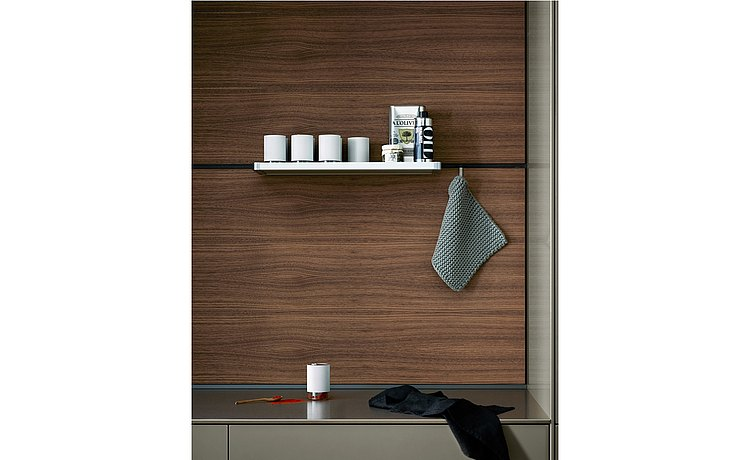 Functional wood rear wall with stainless steel shelf and hook