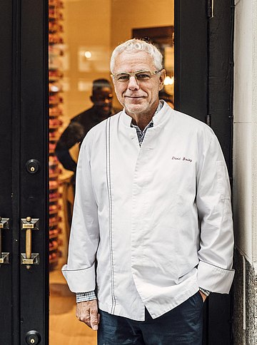 David Bouley vor seinem neuesten Esslabor, dem Bouley at Home im Flatiron District von Manhattan