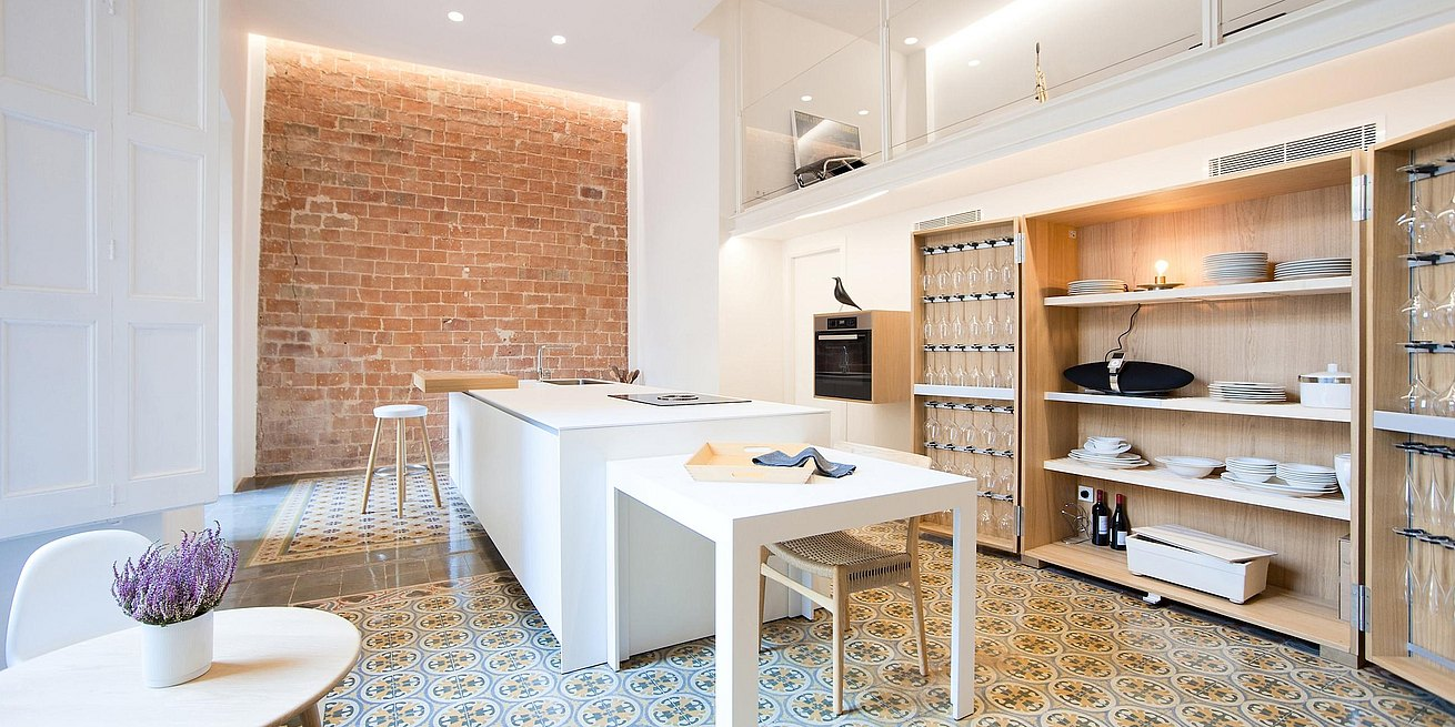 Bulthaup kitchen as a central element of the Girona apartment space.