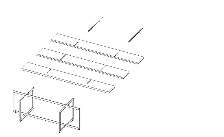Exploded view shows the table's strengths in its unusual construction: two framework crosses and a three-panel top layer