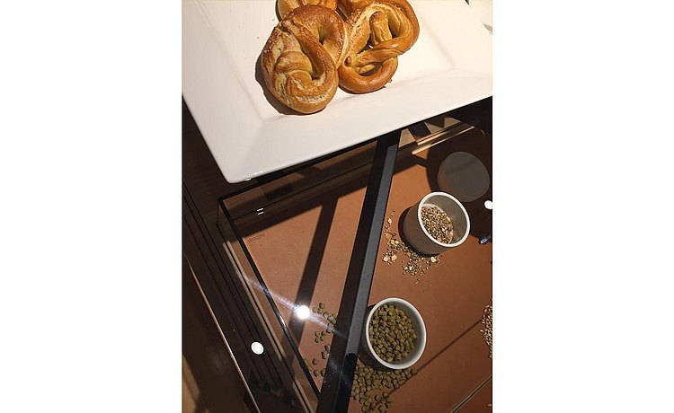 Detail of b Solitaire showing grains and wort for beer making presented in the pull out tray and a plate of Bavarian pretzels on the glass top.