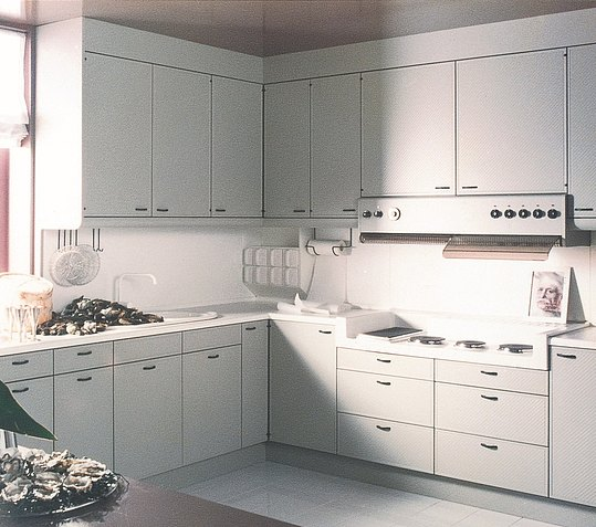 Complete kitchen unit in white with integrated appliances in an understated design