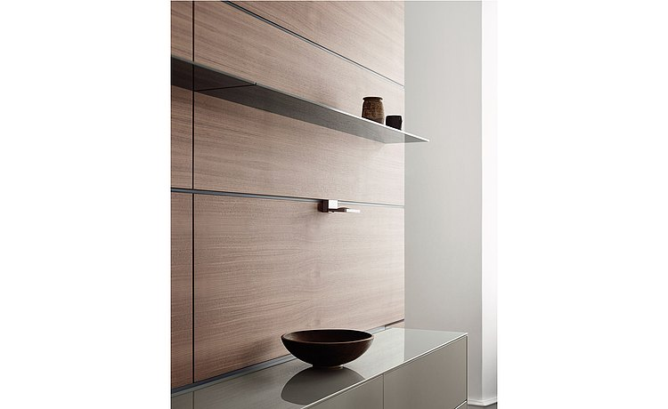 Functional wood rear wall with stainless steel shelf and stainless steel top layer