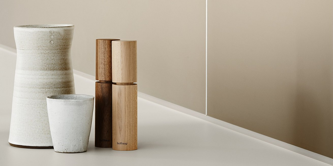 Designer pieces made from natural materials, such as these salt and pepper shakers that you will treasure always