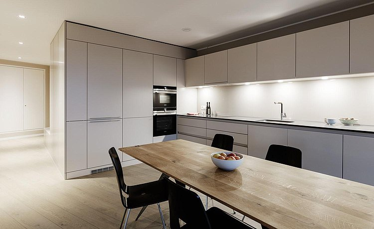 The understated yet generous b3 in white gives the apartments a further sense of design and exclusivity