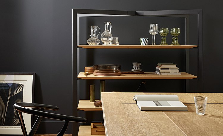 The open shelf offers room for customizing your living space