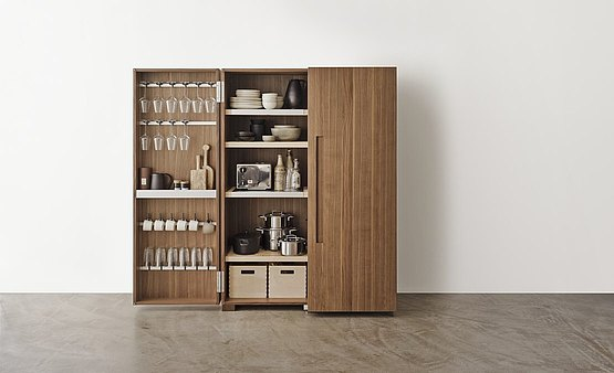 Each kitchen utensil can be stored practically within the doors of the tool cabinet