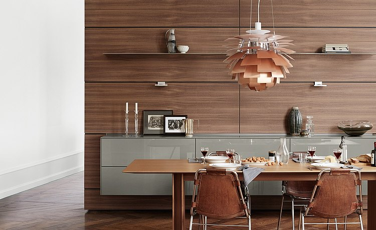 Functional wood rear wall with floating kitchen unit with glossy gray front panels