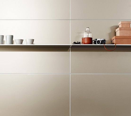 Thin metal shelf, invisibly attached to the rear wall, with high load capacity