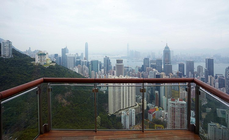 View of Hong Kong from the balcony of the exclusive apartment