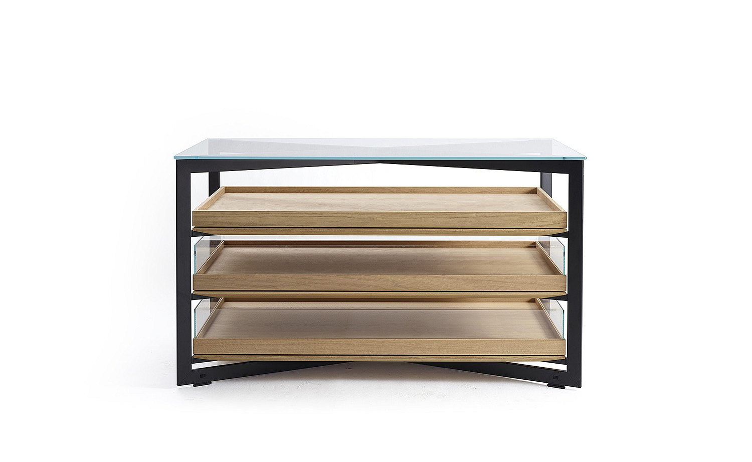 b Solitaire glass, 140 cm length with three wood pull-out trays, two with glass sides: frontal view